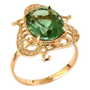 Кольцо из золота с зеленым кварцем и фианитами