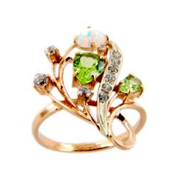 Кольцо из золота с опалом, хризолитами и фианитами