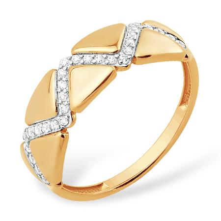 """Золотое кольцо """"геометрия"""" с фианитами"""