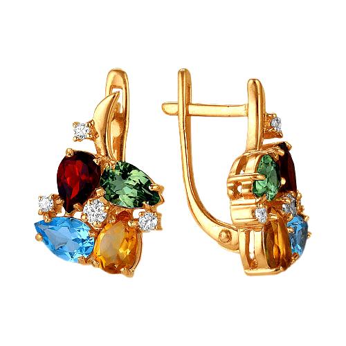 Золотые серьги с разноцветными фианитами