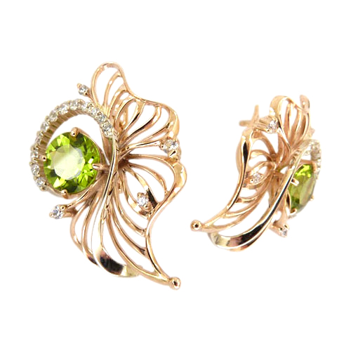Серьги из золота с зеленым и белыми фианитами