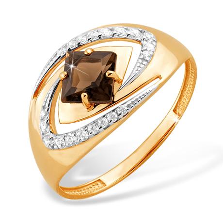 Кольцо из красного золота с раух-топазом и фианитами
