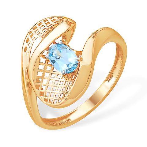 """Золотое кольцо """"волна""""с топазом"""
