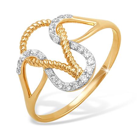 """Золотое кольцо """"канатик"""" с фианитами"""