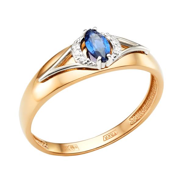 Золотое кольцо с наносапфиром и фианитами