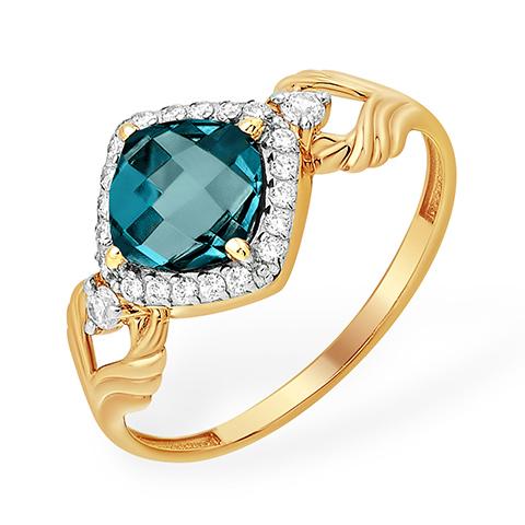Лёгкое золотое кольцо с лондон-топазом и фианитами