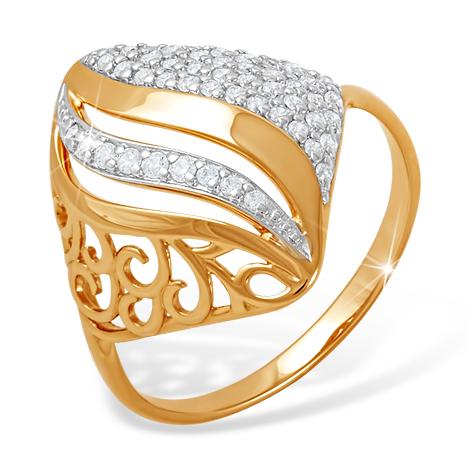Ромбовидной формы золотое кольцо