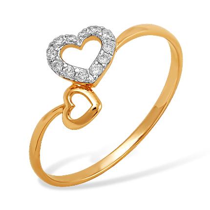 """Кольцо """"два сердца"""" из золота с фианитами"""