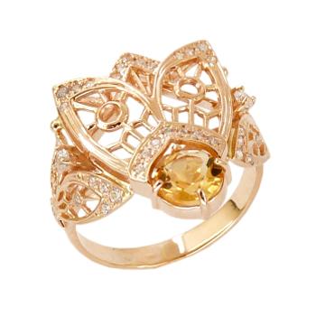 """Кольцо """"муха"""" из золота 585 пробы с цитрином и фианитами"""