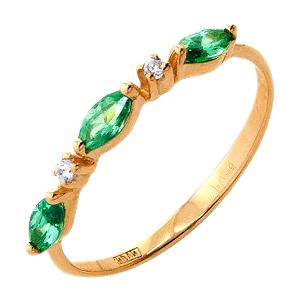 Кольцо из золота с зелеными и белыми фианитами