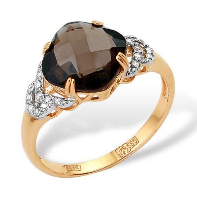 Золотое кольцо с раух-топазом и фианитами
