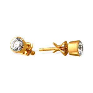 Золотые серьги-пусеты с белыми фианитами