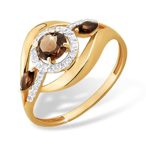 Золотое кольцо с раух-топазами и фианитами