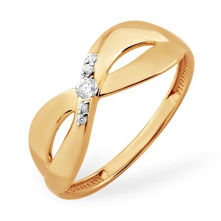 Кольцо из золота в виде восьмерки с фианитами
