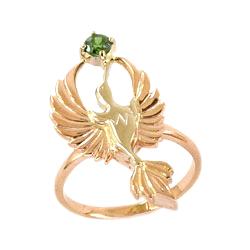 """Кольцо """"птица"""" из золота с зеленым фианитом"""