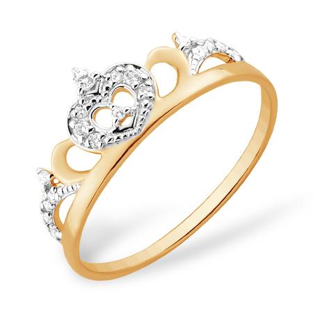 Кольцо из золота в виде короны с фианитами