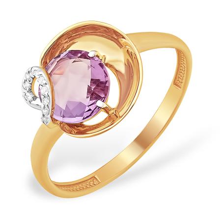 Оригинальной формы кольцо из золота с круглым аметистом