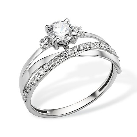 Золотое кольцо из белого золота с фианитами
