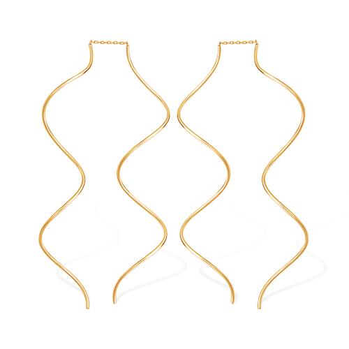 Длинные извилистые серьги из золота