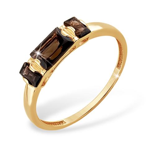 Кольцо из золота с раух-топазами