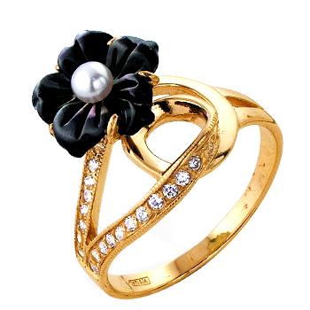 """Кольцо из золота """"цветок"""" с черным перламутром, жемчугом и фианитами"""