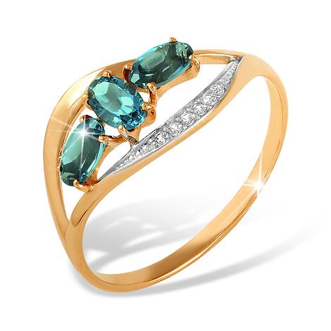 Кольцо из золота с фианитами и Лондон топазами