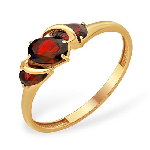 Лёгкое золотое кольцо с гранатами