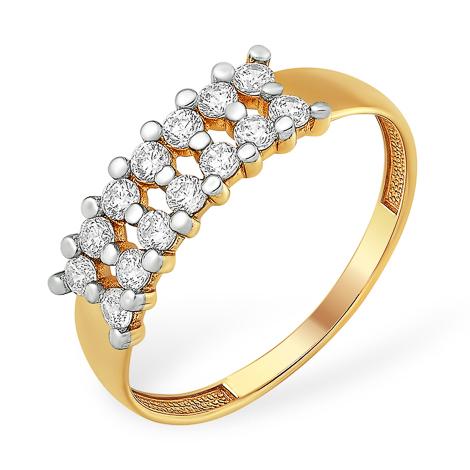 Кольцо из золота с бесцветными фианитами