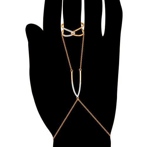 Слейв-браслет на руку из золота с фианитами