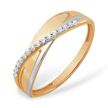 Легкое оригинальное кольцо из золота с фианитами