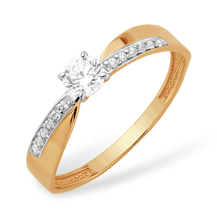 Легкое золотое кольцо с кристаллом Swarovski и фианитами