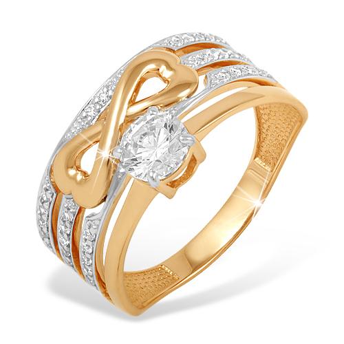 Объемное кольцо из красного золота с фианитами