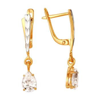 Серьги из золота с фианитами и алмазной гранью