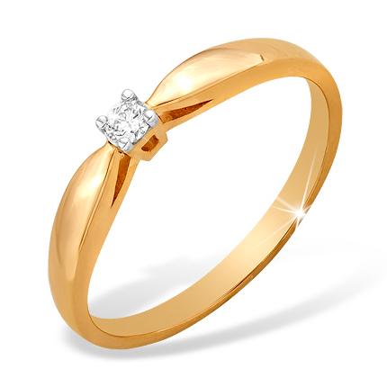 Золотое кольцо на помолвку с бриллиантом