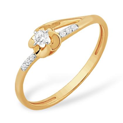 """Миниатюрное золотое кольцо """"цветочек"""" с фианитами"""