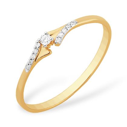 Классическое золотое кольцо с бриллиантами