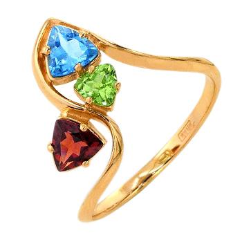 Кольцо из золота с топазом, гранатом и хризолитом