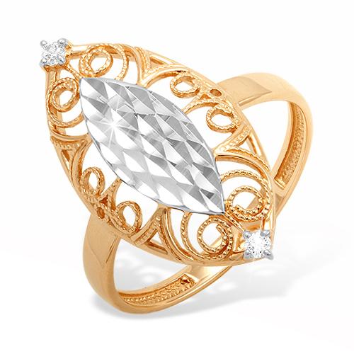 Кольцо из комбинированного золота с фианитами и алмазной гранью