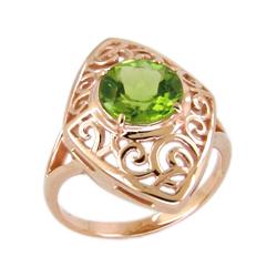 Золотое кольцо с зеленым фианитом