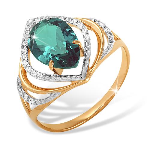 Кольцо из красного золота с ситалл Лондоном и фианитами
