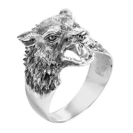 """Мужское кольцо """"Волк"""" из серебра"""