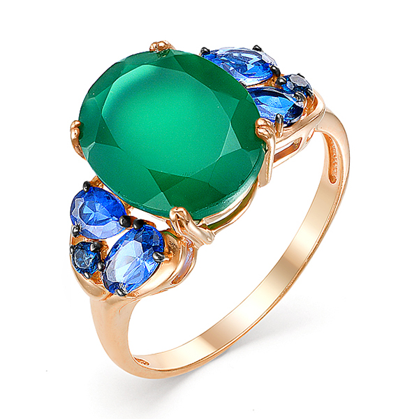 Кольцо с крупным зелёным агатом и синими фианитами
