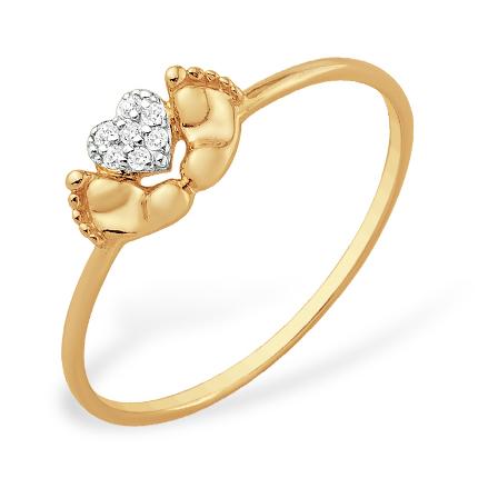 """Золотое кольцо на рождение ребенка """"пяточки"""" с фианитами"""