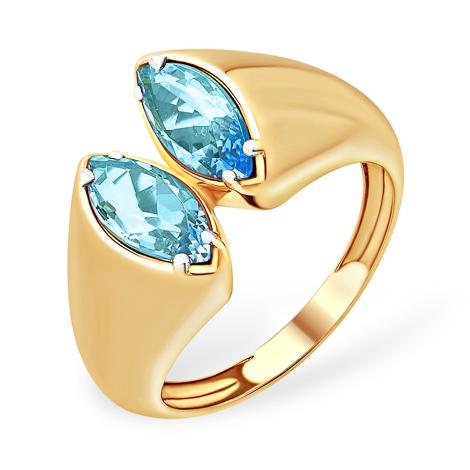 Золотое кольцо с натуральными топазами
