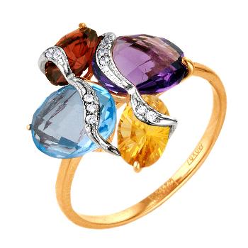 Золотое кольцо с аметистом, гранатом, топазом, цитрином и фианитами