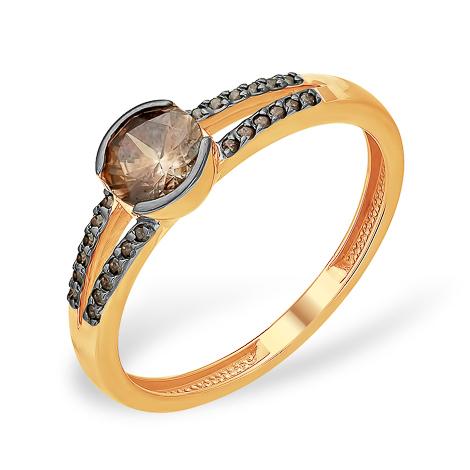 Кольцо с коричневыми фианитами