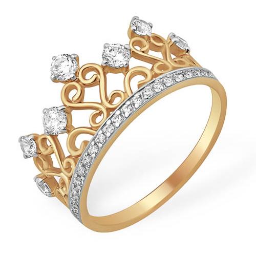 Кольцо из золота с фианитами в виде короны