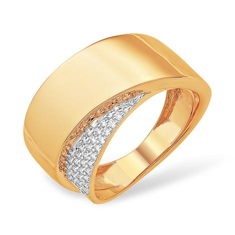 Стильное широкое золоте кольцо с фианитами