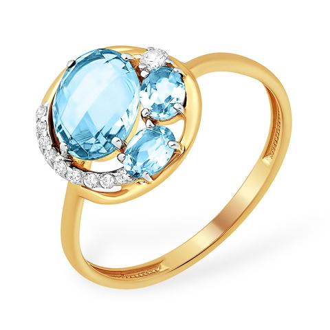 Круглое кольцо из золота с топазами и фианитами