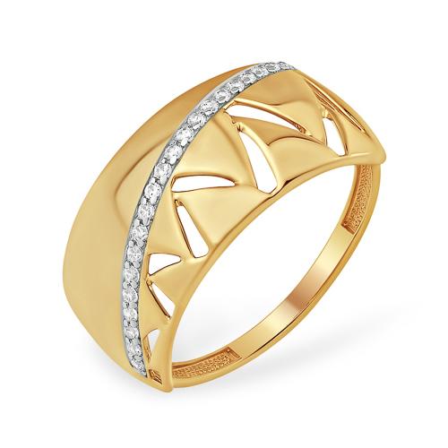 Широкое оригинальное кольцо с фианитами